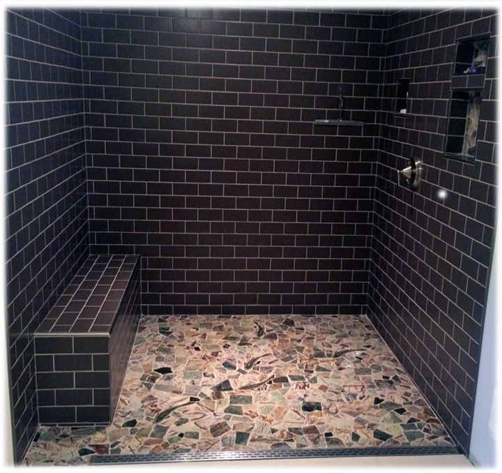 Rainforest Marble Mosaic Shower Floor Design Idea Using