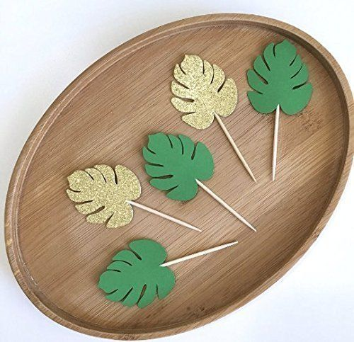 Monstera Leaf Cupcake Toppers, Luau Cupcake Toppers, Hawaiian Party Decor, Luau Party Decoration, Tropical Party, Moana Toppers (Set of 12). Aloha!!! These fantastic handmade Monstera Leaf cupcake toppers are a MUST-HAVE at your Luau party. If you would prefer a different color combination or size, please send me a message and I would be happy to work with you to create exactly what you are looking for.