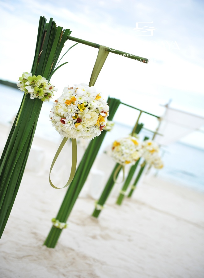 White & Yellow Orchids, Roses and Plumerias hanging... Your Wedding Walkway.