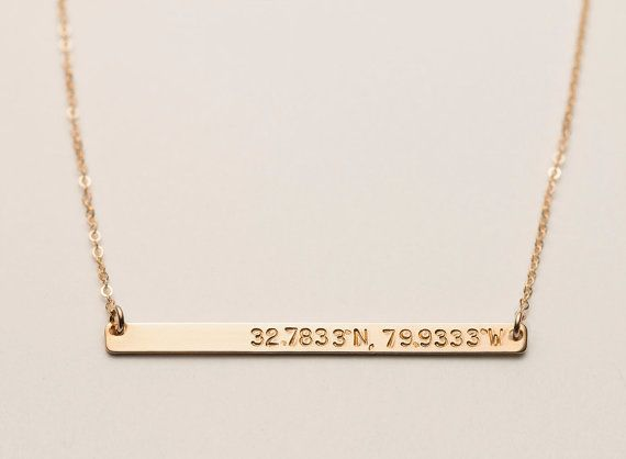Personalized Skinny Bar Necklace / Customized by LayeredAndLong-- I would so want the coordinates of UD!