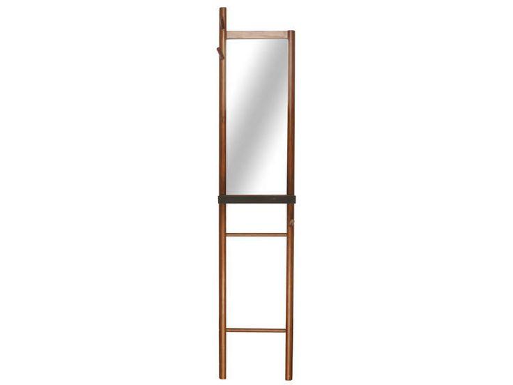 Miroir avec échelle H.180x40 cm LADDER coloris bois foncé et noir - pas cher ? C'est sur Conforama.fr - large choix, prix discount et des offres exclusives Miroir sur pied et Psyché sur Conforama.fr