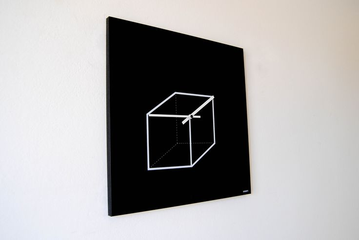 CUBE CLOCK Designobject Italy  Design by Havis Marchetto & Sylvie Van De Loo    Clock's hands at 01:45 become sides of the cube, recreating the 3D figure.  Dimensions: 50x50 cm  Material: metallic serigraph panel