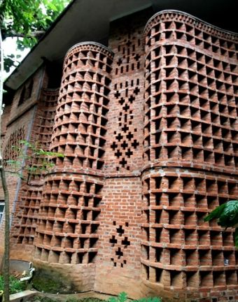 The S-shaped facade of the Ladies Hostel at the CDS ...