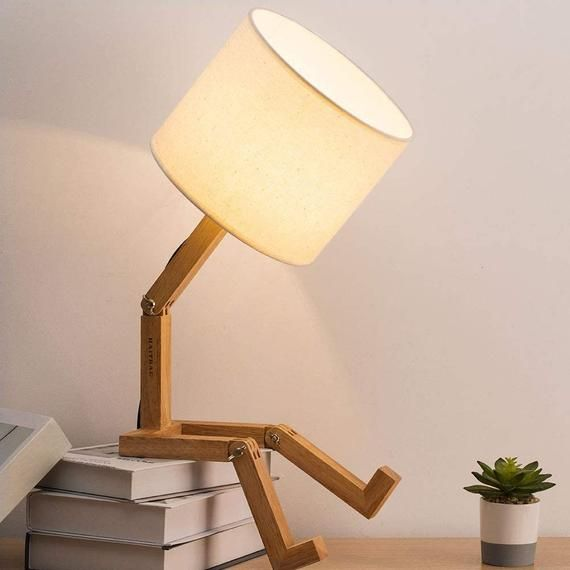 Swing Arm Desk Lamp Modern Creative Table Lamp Natural Wood Bedside Nightstand Lamp Bedroom Study Office Work Kids Room Ideal Gifts Modern Desk Lamp Desk Lamp Natural Table Lamps