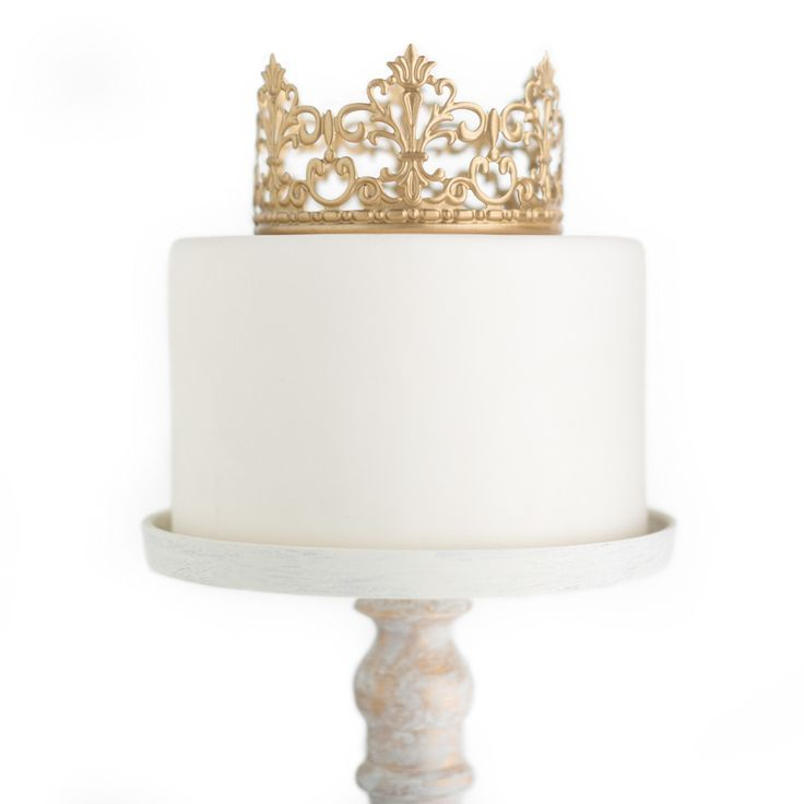 Gold Crown Cake Topper ~ Jane. With her delicate fleur de lis design, her quaintness sits pretty on the top tier of a wedding cake, birthday cake or baby shower decor.