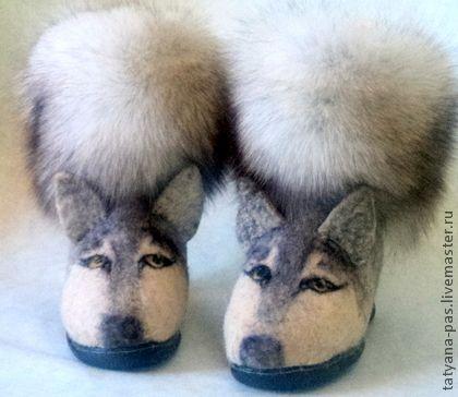 """валенки """"Мы-белые волки"""" - серый,серый цвет,шерсть,валенки для улицы,валяная обувь"""