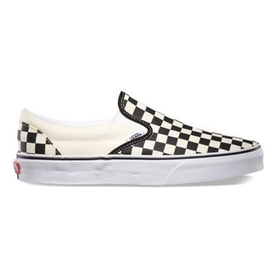 The Classic Slip-On has a low profile, slip-on canvas upper with all-over checker print, elastic side accents, Vans flag label and Vans original Waffle Outsole.