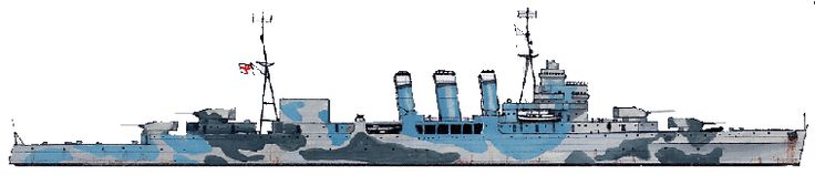 HMS Norfolk (78) was a County class heavy cruiser of the British Royal Navy, along with her sister ship Dorsetshire, she was part of a planned four-ship subclass. She served throughout World War II. (Diagram B)