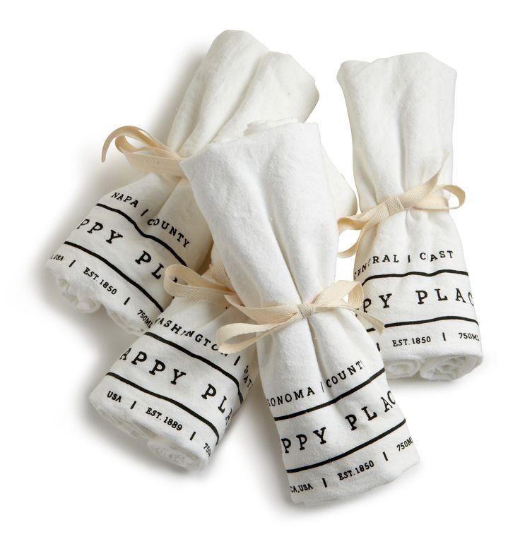 Happy Place Flour Sack Tea Towels