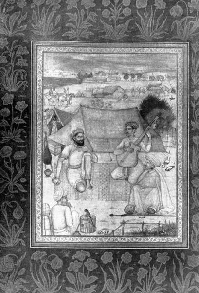 Group of servants. Miniature from Jehangir's album. 17 in