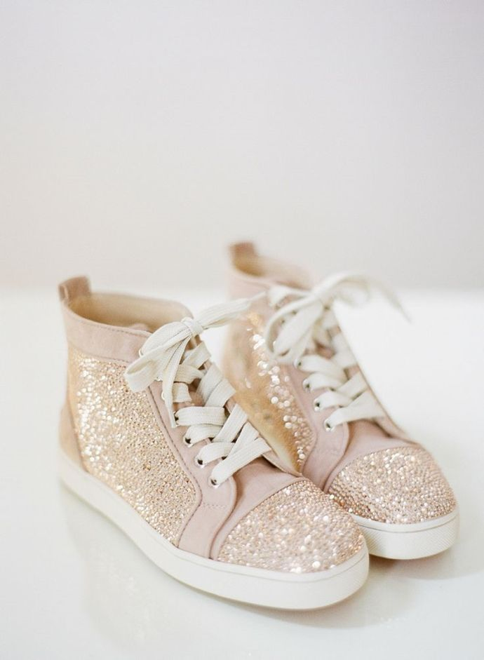 How awesome are these kicks! High tops with sequins and sparkle can be wedding shoes too!