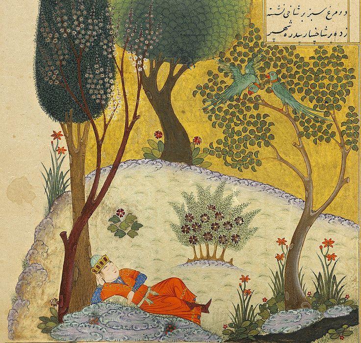 برگ مصور از خمسه خواجوی کرمانی، نگارگر ناشناس، دوره تیموریان، سلطان محمد بهادر، میانه قرن 15 میلادی KHWAJA KIRMANI (D. CA. 1349): KHAMSA COPIED FOR MUHAMMAD SHAH BAHADUR, TIMURID IRAN, IRAN, MID-15TH CENTURY Text panel 21.2 x 14.6 cm; folio 31.3 x 20.5 cm