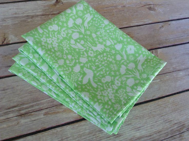 "Bunny Rabbit, Easter Cloth Napkins, 12x12 Cotton Napkins, Set of 6. A whimsical bunny design in a brilliant, spring green and white print. Perfect for Easter breakfast or brunch, casual dinners or a special gift. Napkins are 12""x 12"", set of 6. Handcrafted, 100% cotton, prewashed for shrinkage."