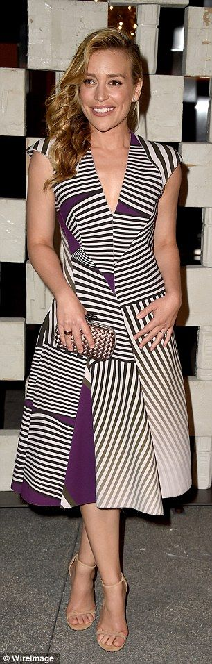 Opposite ends of the spectrum: Piper Perabo (left) kept it graphic in her funky purple and...