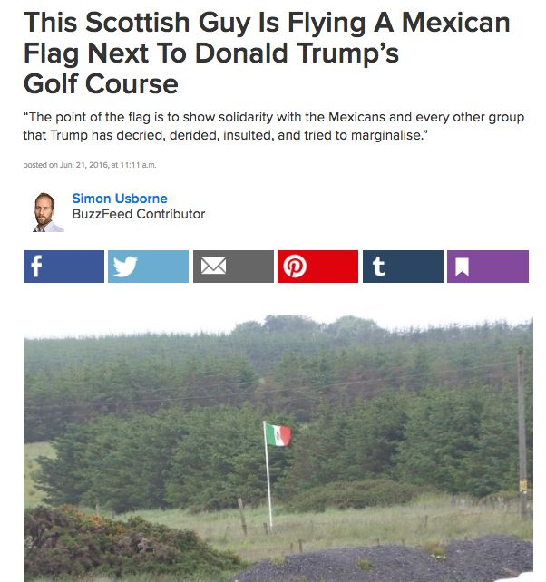 Locals also hoisted a familiar flag to help him feel at home. | 11 Of The Best Ways Trump Was Welcomed To Scotland This Weekend