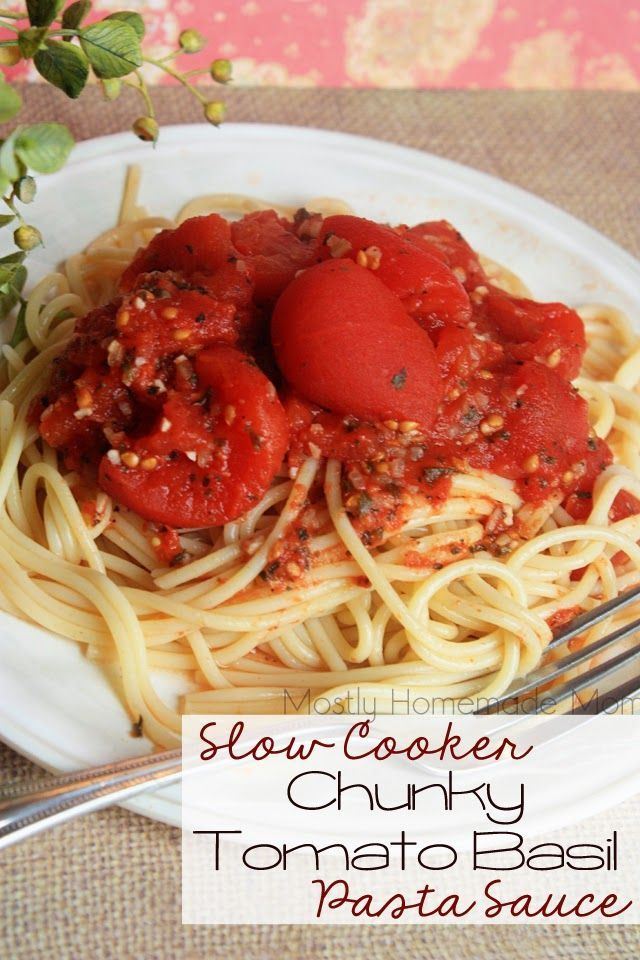 Slow Cooker Chunky Tomato Basil Pasta Sauce - You'd be hard-pressed to find a jarred chunky tomato sauce that even comes close to the flavor of this homemade Crockpot version! Whole tomatoes, onion, garlic, and basil - serve over hot pasta or fluffy brown rice!