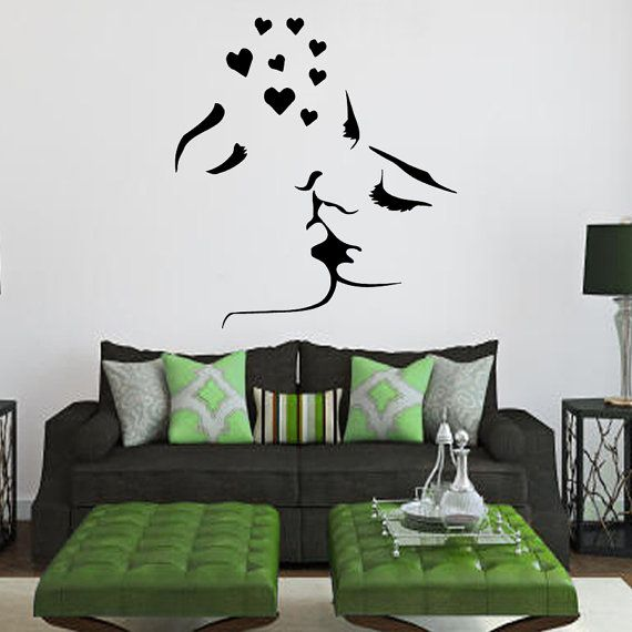Love Wall Decals Lovers Man Woman Kiss Romantic Couple Hearts Valentine's Day Art Design Interior Vinyl Decal Sticker Bedroom Decor kk438