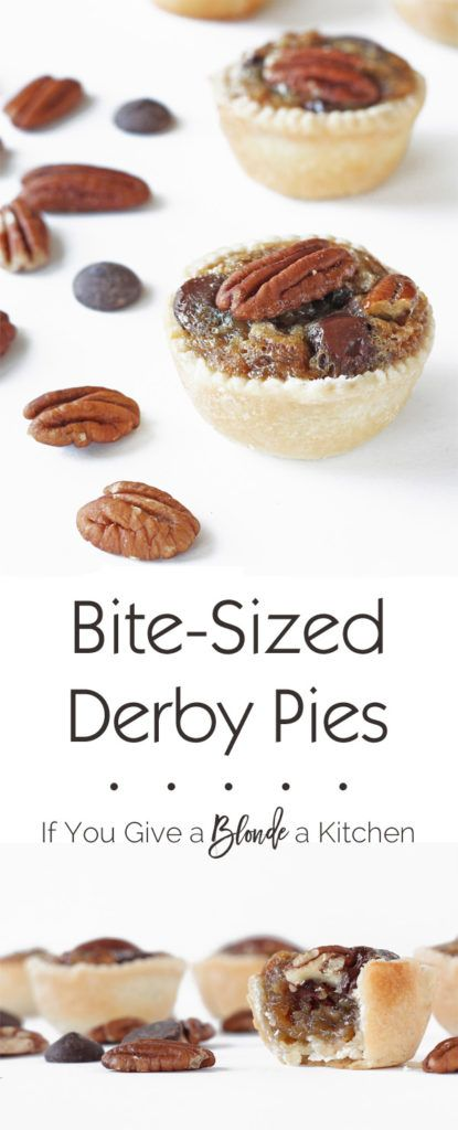 Try a bite-sized derby pie for the Kentucky Derby! These mini treats have pecan pie filling with bourbon and semisweet chocolate chips. YUM! | Recipe by @haleydwilliams