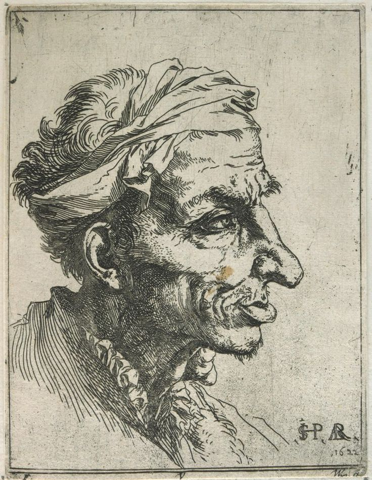 Jusepe de Ribera. Small Grotesque Head. Etching, signed 1622