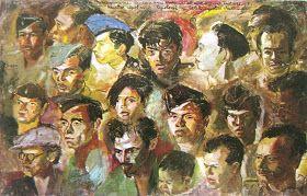 """Kawan-kawan revolusi"" by S.Sudjojono, Medium: oil on canvas, Size: 95cm x 149cm"