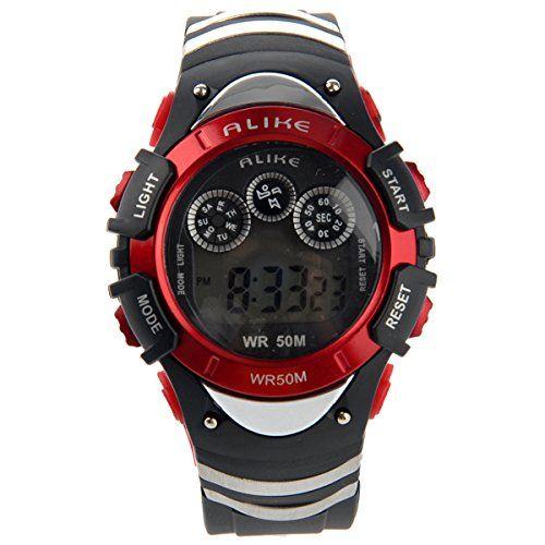 Foxnovo GLEICHERMAßEN A5106 50M wasserdicht Studenten Sport LED Digital Armbanduhr mit Datum /Alarm Stoppuhr /LED Licht (rot) - http://kameras-kaufen.de/foxnovo/foxnovo-gleichermassen-a5106-50m-wasserdicht