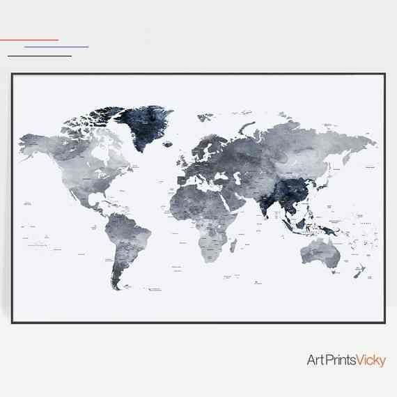 Large Grey Vintage Watercolour Map of the World A1 Poster Print Wall Art Decor