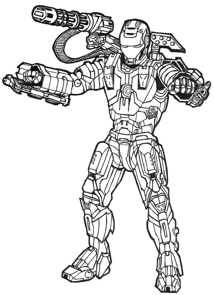 war machine James Rupert Rhodes | Superhero coloring pages ...