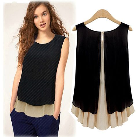 blusas de chifon - Buscar con חולצה שחורה שתי שכבות Google Más