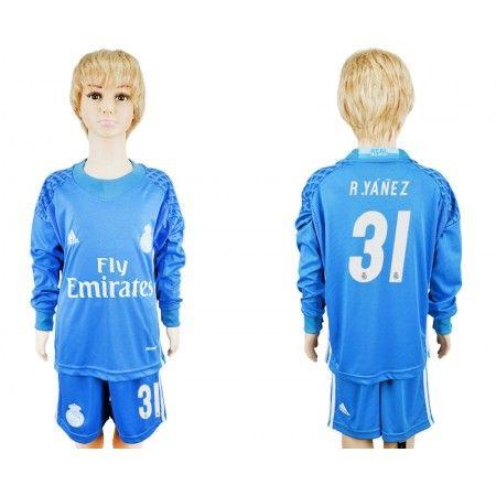 Real Madrid Trøje Børn 16-17 #R.Yanez 31 målmand Blå  Trøje Lange ærmer.199,62KR.shirtshopservice@gmail.com