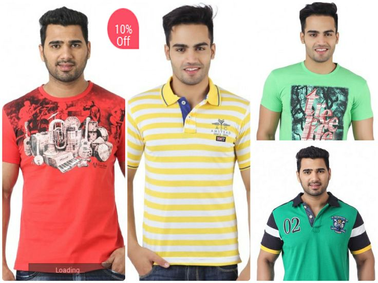 """""""Get 10% off on a range of stylIsh Men's T-shirts from leading brands  only at hytrend.com """""""