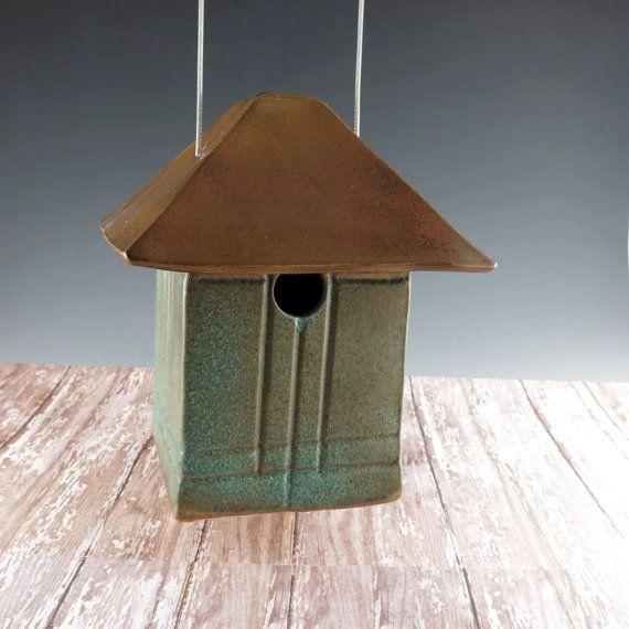 Mission Style Bird House - Pottery Craftsman Birdhouse - Outdoor Art - Garden Decor - Copper Glazed - Ready for Occupancy - 306