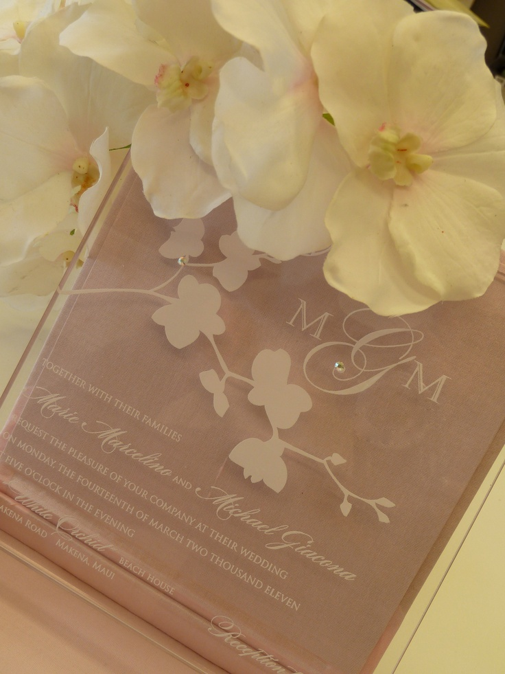 White Orchid Engraved Acrlic Wedding Invitation By Embellishments Invitations Xo
