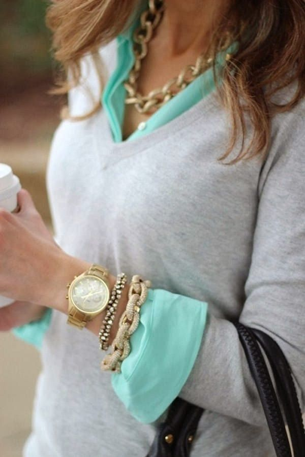 Mint sleeve shirt, Cozy grey sweater and Golden accessories