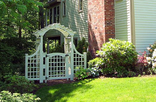 $  The Neoclassical Arbor by Trellis Structures w/ garden gate, side panel extensions, painted + stained to match home