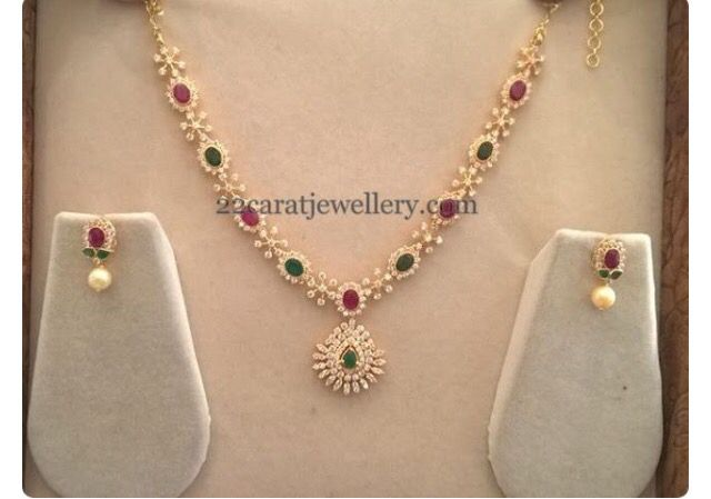Simple diamond, riby and emerald combination necklace and earrings