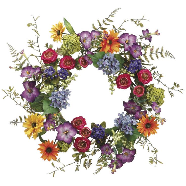 "24"" Daisy, Ranunculus, and Morning Glory Wreath"