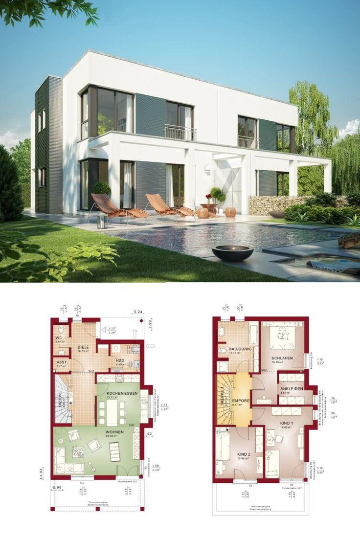 Design Doppelhaus im Bauhaus Stil mit Grundriss Haus