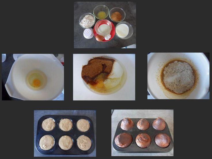 Yogert-citroen muffins 6 stuks 15 minuten bereiden + 20 minuten hete lucht oven 190C Benodigdheden: 1 ei 40 ml gesmolten kokosolie 120 ml magere yogert 70 ml kokosbloesem suiker Rasp + sap van een halve citroen 150 gram speltmeel 1,5 theelepel backing soda Muffinvorm Verwarm de oven op 190 C Klop het ei, olie, yogert, suiker, citroenrasp en sap in circa 3 minuten luchtig. Voeg het meel en de backing soda toe en meng dit. Verdeel het beslag in de muffinvorm (ze mogen tot de rand gevuld).