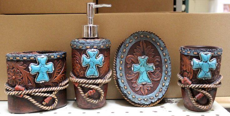 Western Turquoise Cross w Rope Bathroom Vanity Set