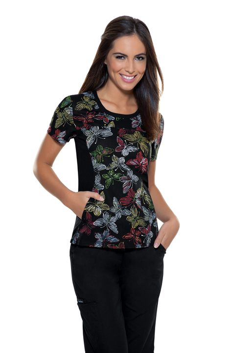 "Cherokee ""Flying By"" Women's Round Neck Knit Panel Top 