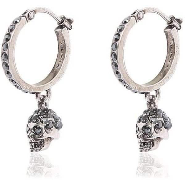 Alexander Mcqueen Women Mini Skull Hoop Earrings 1 125 Aed Liked On Polyvore Featuring Jewelry Silver Jewellery