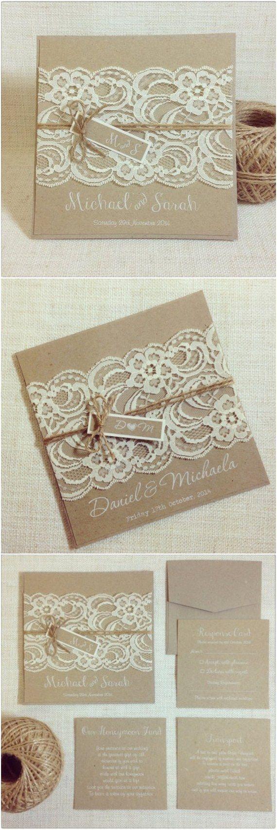 Rustic Vintage Lace Square Wedding Invitations / www.deerpearlflow…