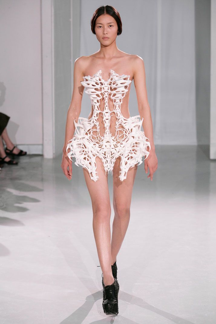 Skeleton Fashion, by designer Iris Van Herpen. She mixes fabric with 3D prints to uniquely express human individuality.   photo © Michel Zoeter