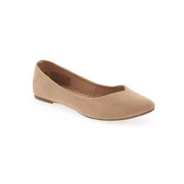 Old Navy Faux Suede Ballet Flats ($23) ❤ liked on Polyvore featuring shoes, flats, brown, ballet pumps, brown pointy toe flats, old navy shoes, pointy toe flats and brown flats