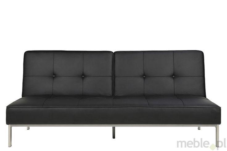 Actona Perugia Sofa Rozkładana Czarna Skóra ekologiczna - 0000051215, Actona - Meble