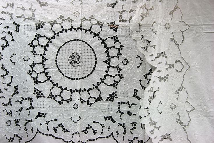 Lotus Blossoms- Elaborate Cutwork Bed Cover in #Linen #Cotton blend. http://bit.ly/2aF7p58  #bedding #linen #vintage