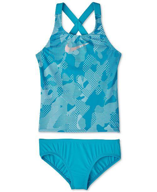 a3a3892175d1a Nike Big Girls 2-Pc. Optic Camo Crossback Tankini & Reviews - Swimwear -