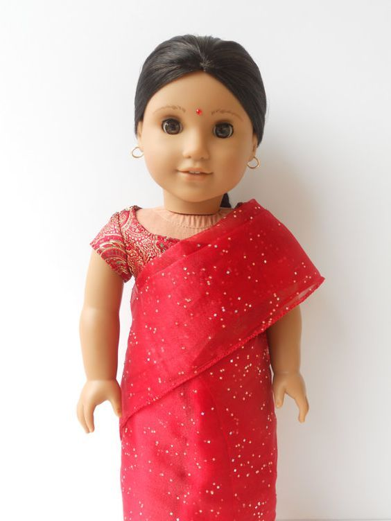 Red indian sari for American girl doll