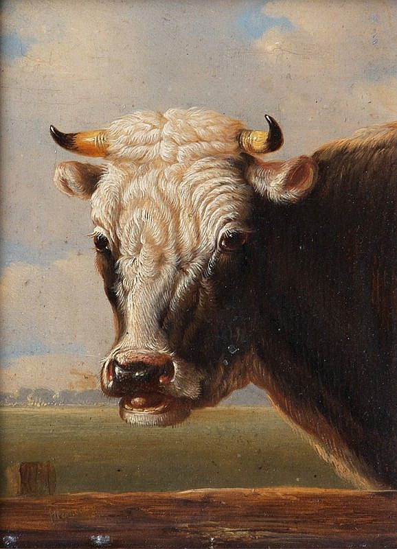 Albertus Verhoesen (1806-1881), Hoofd van een koe. http://www.artsalonholland.nl/kunst-encyclopedie