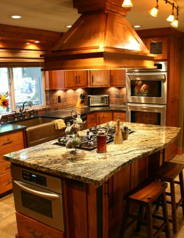 Island with stovetop, oven seperate